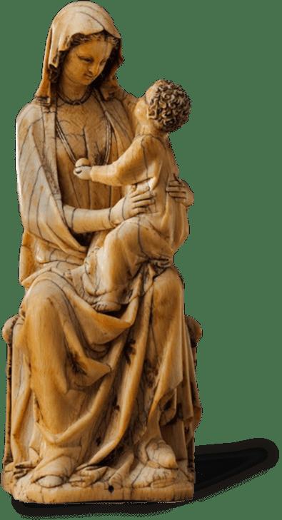 Comprador de antigüedades, virgen con niño Jesús