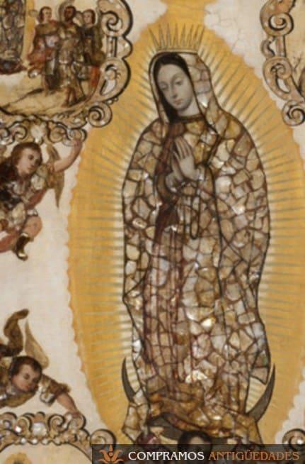 cuadro antiguo de virgen en nácar
