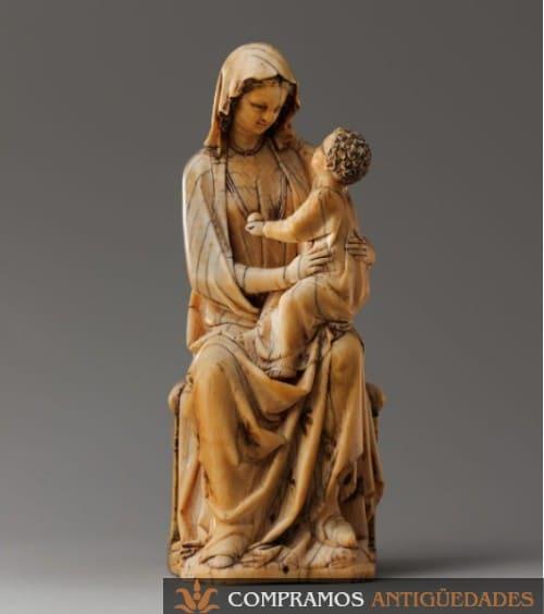 estatua de virgen y nino en marfil