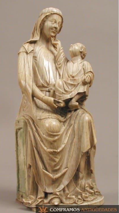 figura virgen con nino jesus en marfil