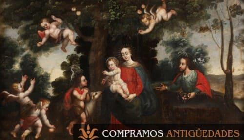 Sagrada familia cuadro colonial antiguo