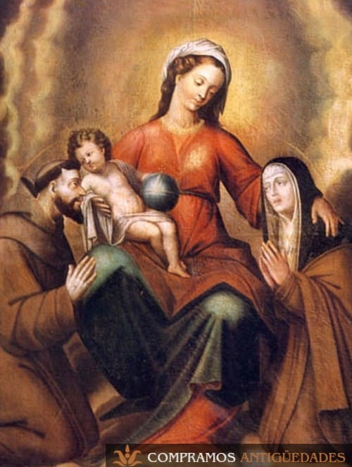 Cuadro cuzqueño de Virgen Santos, arte cuzqueño, escuela de Cusco, compra venta de arte cusqueño, Cuadros Cusqueños