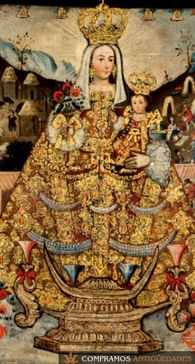 Virgen cusqueña pintada en oro, cuadros cusqueños de oro, pintura cusqueña característica, pintura cusqueña de alto precio