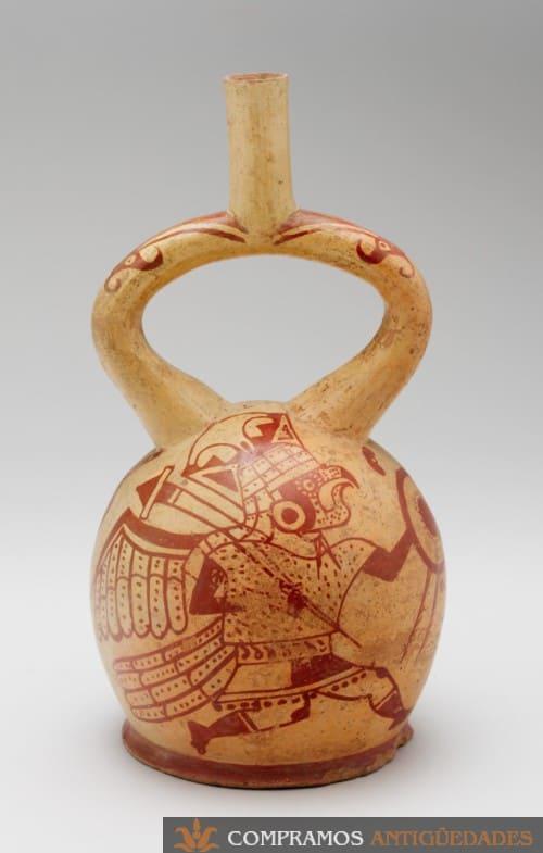 guerrero con escudo en cerámica precolombina