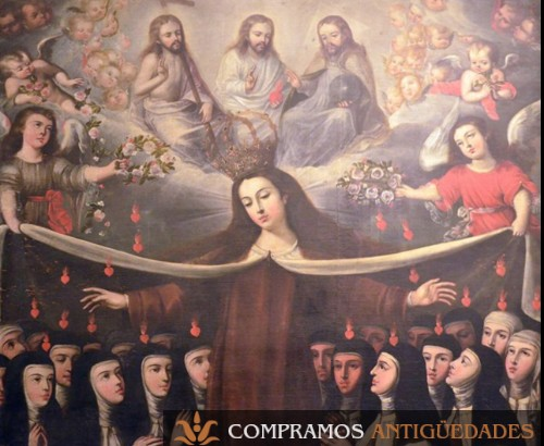 Cuadro antiguo Isabel de Santiago quito