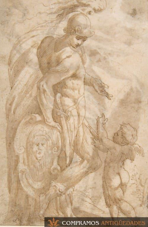 Dibujo antiguo mitológico personaje escudo