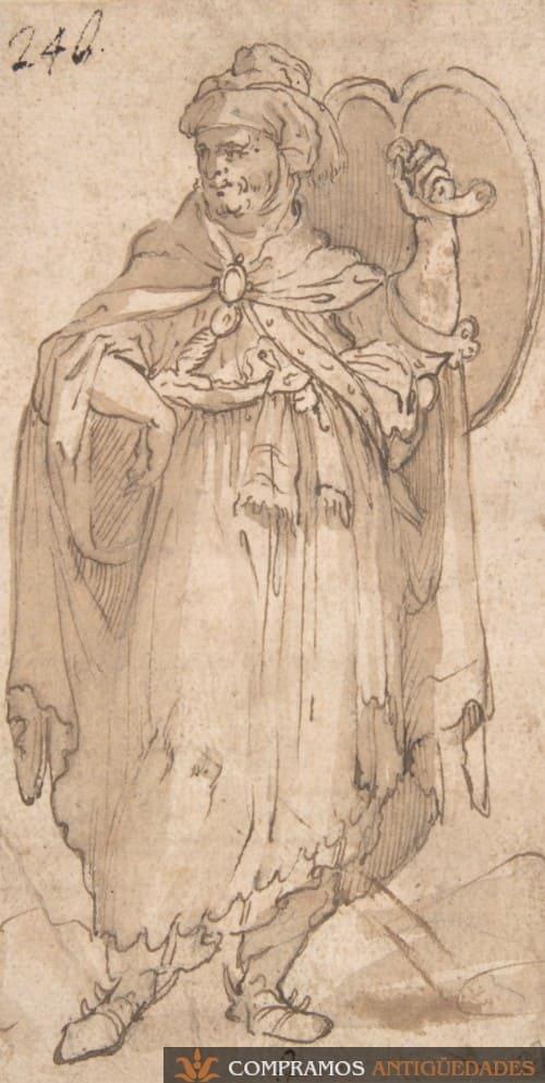 Dibujo antiguo personaje escudo