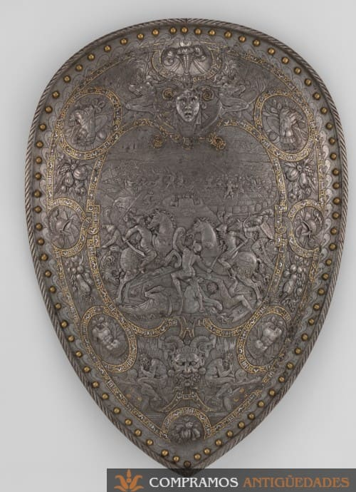 Escudo acero Historicista siglo XIX
