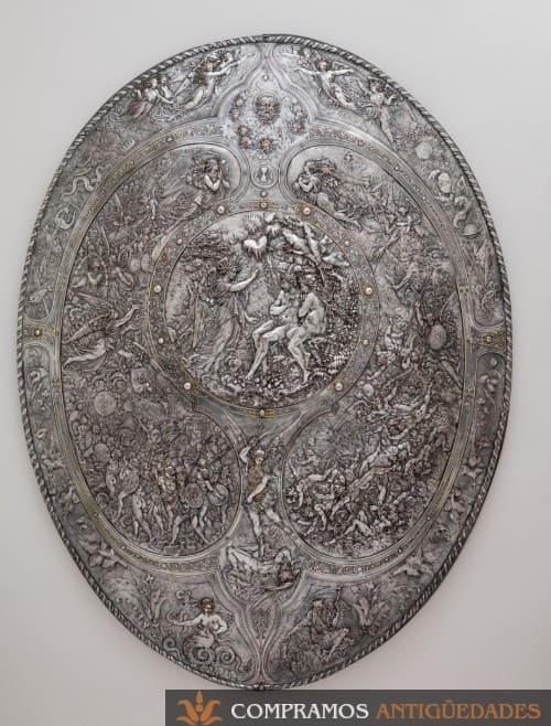 Escudo antiguo acero grabado