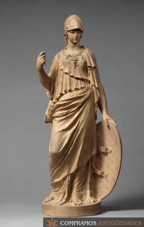 Escultura antigua palas atenea escudo