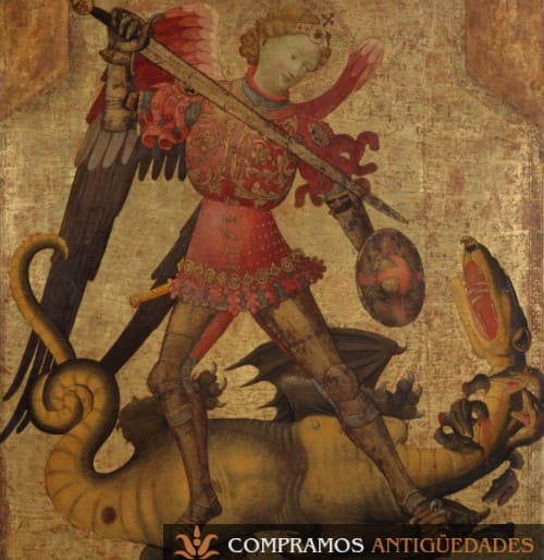 Tabla antigua pintada san Miguel Dragon escudo