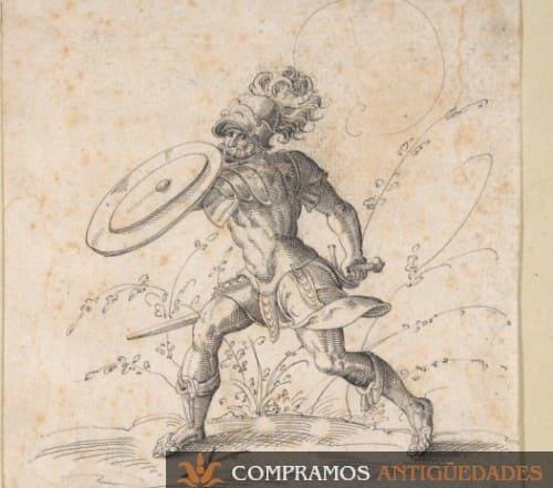 cuadro antiguos guerrero con escudo