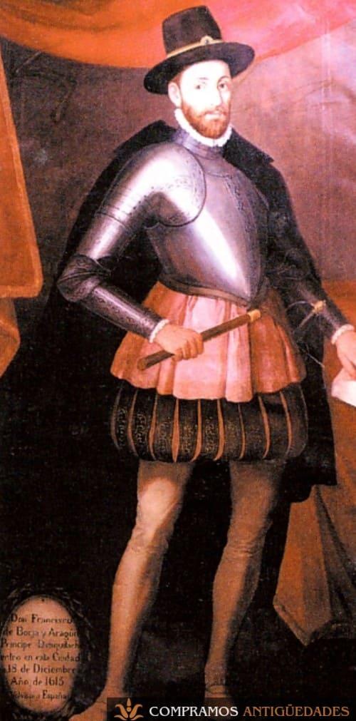 Pintura virreinal al oleo de virrey de Perú Esquilache siglo XVII