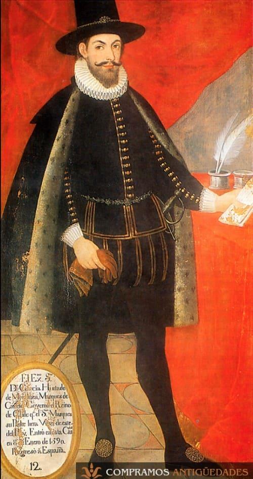 Retrato Virreinal del Siglo XVI Marqués Cañete Virrey de Perú, cuadro colonial antiguo de Virrey de Perú, Cuadro virreinal precio