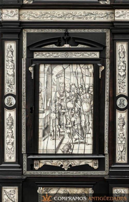 Bargueño de Carey XVI, marfil grabado puerta bargueño compradores
