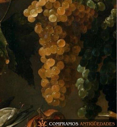 Bodegón antiguo con racimo de uvas