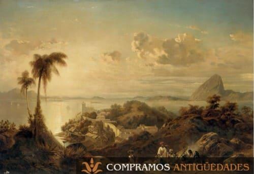 Cuadro de paisajes antiguo, compra venta de cuadros de paisajes antiguos a buen precio