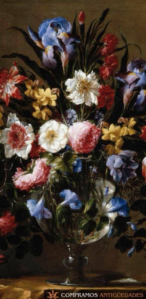 Cuadro de flores, pintura jarrón de flores