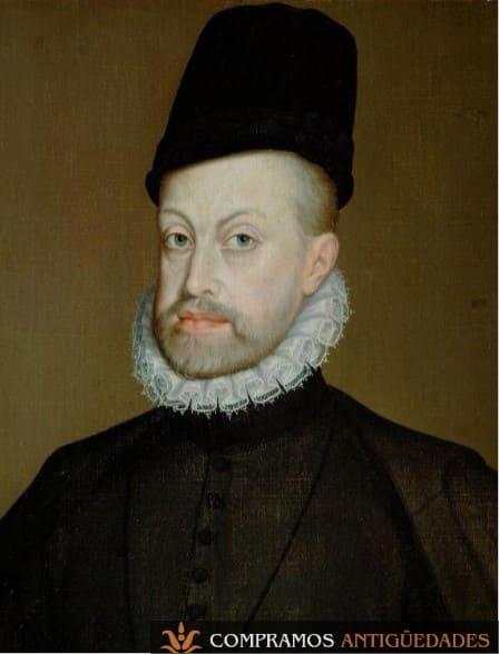 Retratos antiguos de reyes, retratos de reyes, retrato de rey Felipe II