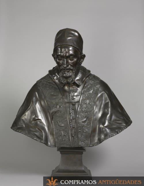Busto de bronce antiguo, escultura antigua de bronce