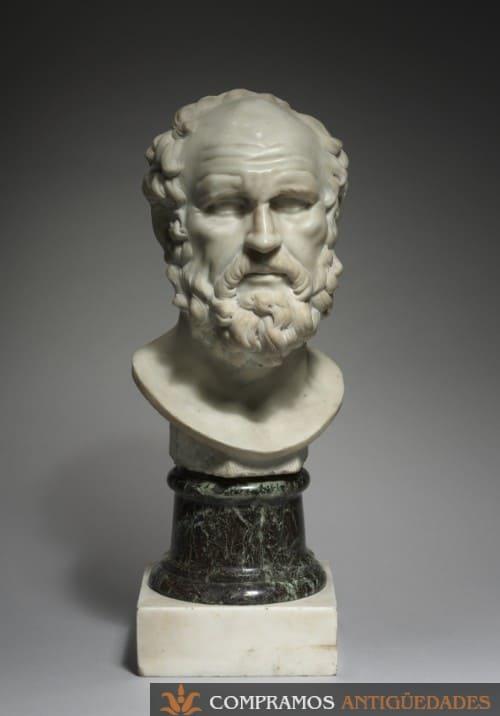 Busto de mármol antiguo, escultura antigua fabricada en mármol, Escultura de mármol antigua