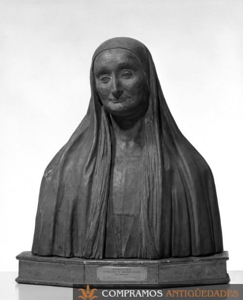 Busto de barro antiguo, donde vender bustos antiguos, compra venta de bustos antiguos