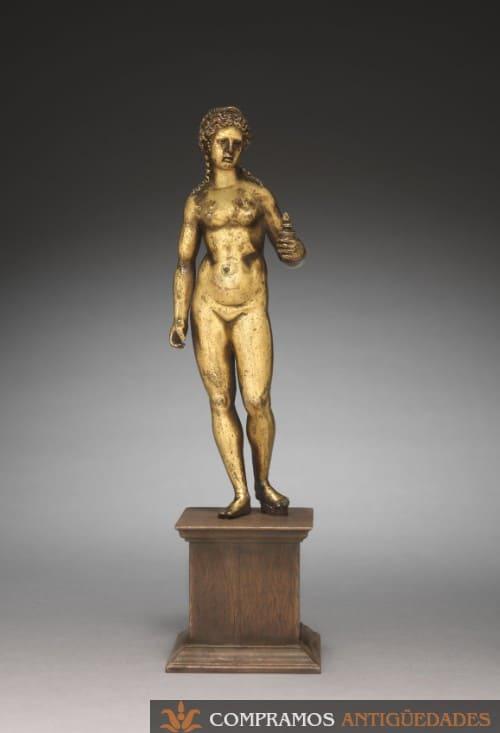 Escultura de bronce antigua, figura venus dorada antigua, escultura diosa Venus